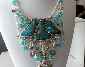 Turquoise Sea Sediment Jasper Necklace, ON SALE, Swarovski Crystals, Pearls, Aqua Agate Gemstones, Silver Chain, Beadwork, Beaded Necklace