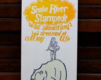 Linocut Circus Poster: Snake River Stampede