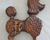 Poodle Vintage Carved Wood Wall Plaque Mid Century Kitsch FREE Ship