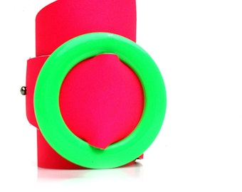 Neon Pink Leather Wrap Cuff Bracelet with Vintage Green Buckle, EcoFriendly, Adjustable, OOAK