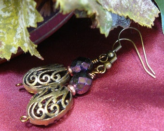 Lacy Antique Brass Earrings ~ Victorian Earrings ~ Openwork Earrings ~ Brass Bead Earrings ~ Czech Glass Earrings ~ Lacy Brass Earrings