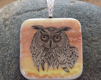 Black and Gold Owl Fused Dichroic Art Glass Jewelry Pendant