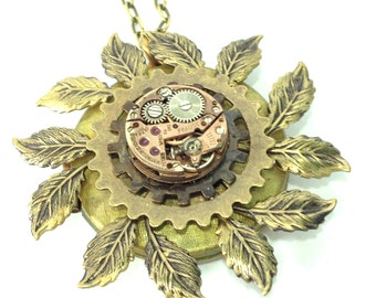 Leaf Locket ,Steampunk Locket,   Steampunk And Leaves Locket Necklace, Steampunk Jewelry, Victorian, Leaves One of a Kind