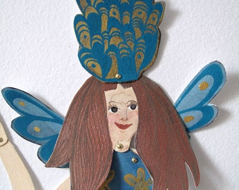 Crowned Mermaid Original Paper Doll Articulated / Hinged Beasts Series