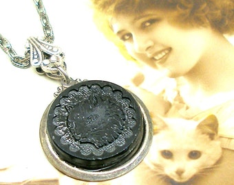 CAT Antique BUTTON necklace, Victorian black glass feline on silver chain. Antique button jewelry, jewellery.