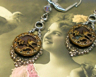 Antique BUTTON earrings, Victorian BIRDS on silver. Antique button jewelry, jewellery.