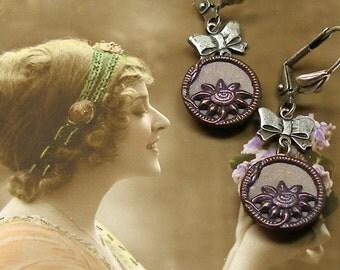 1800s Antique BUTTON earrings, Victorian purple flowers on silver.