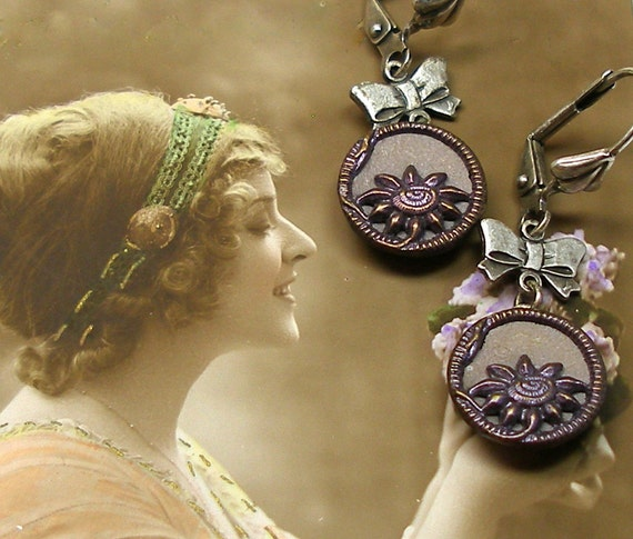 1800s Antique BUTTON earrings, Victorian purple flowers on silver.