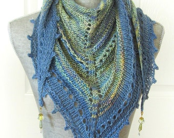 Handknit Women Triangle Scarf Shawl Style Neckwrap with Bead Dangles - Green/Blue