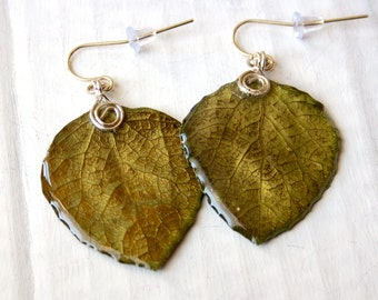 Aspen Leaf Earrings, Olive Green Jewelry, Nature Earrings, Bridesmaid Jewelry