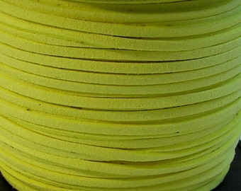 3mm Faux Suede Leather Cord (C43) Neon Yellow 15 feet 5 Yards for Crafts Jewelry Bracelets Necklace Stringing Suede Lace Shipping from USA