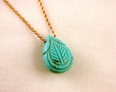 Synthetic Etched Turquoise Teardrop Necklace