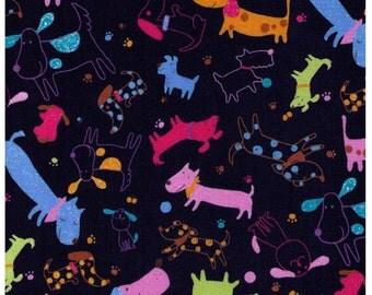 HALF YARD - Cosmo Textiles, Japanese Import, Kawaii, Dogs, Spots, Paw Prints