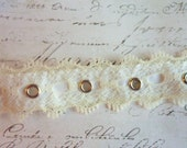 "Classic Ivory Scalloped Lace over Velvet  with Silver Metal Eyelets, Approx 1"" wide"