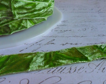 """Spring Green Crushed Velvet Ribbon, Approx 5/8"""" wide"""
