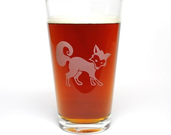 Fox Pint Glass - etched beer glass