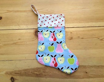 20% Off SALE! SAMPLES for Sale! - Lined Christmas Stocking - Fruits