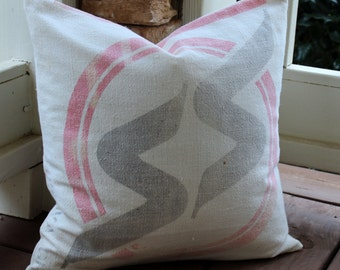 Vintage Feed Sack Pillow - S S Seeds- Red and Black on Cream