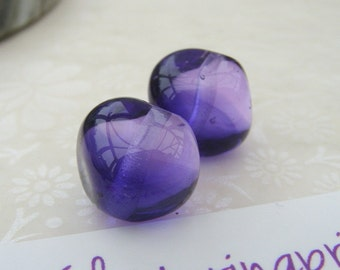 Lampwork Beads Glass Bolero Two Tone Nuggets Pair