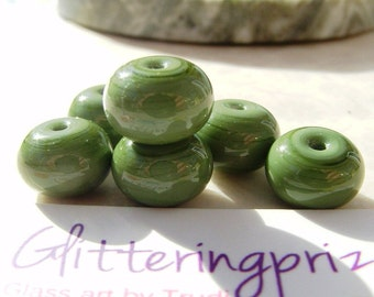 Lampwork Glass Spacer Beads Olive Green