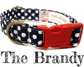 "Navy Blue White Polka Dot Nautical Dog Collar - Organic Cotton - Antique Brass Hardware - ""The Brandy"""
