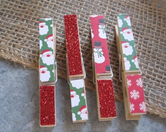 SALE Clothespins - Set of Four Santa and Snowman
