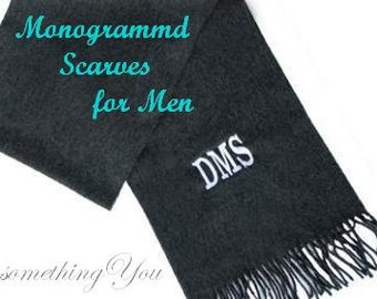 Monogrammed Men's Scarf - Personalized Mens scarf, monogram mens scarf, male teacher gift ideas, mens iniitials scarf, charcoal scarves