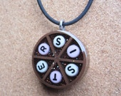 sale item -  SISTER - Upcycled Trivial Pursuit Pendant - Brown