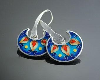 Earrings cloisonné enamel, fine silver -Cuentos