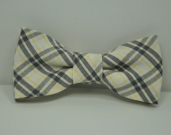 Plaid Boy's Bow Tie Cream Gray and Yellow Bowtie Toddler Baby Wedding