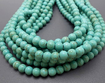 50 Turquoise Howlite Beads 8MM (H7028)