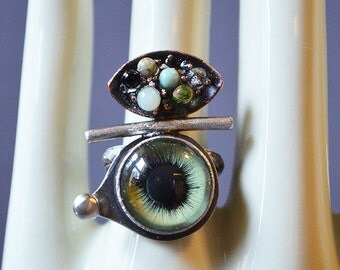 Eye Lost My Marbles Ring Made With Glass Eye And Mini Glass Marbles