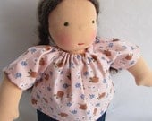 Waldorf doll shirt, for 10 - 12 inch, handmade dolls, doll clothes, germandolls, flowers, doll blouse, cloth doll, rag doll, Steiner doll