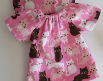 cats, kittens, doll dress, for 14 - 16 inch Waldorf dolls, germandolls, doll nightgown, gift for girls, pink, flannel
