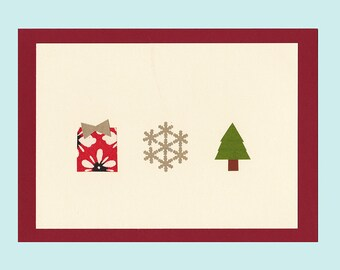 A Minimalist Christmas / Minimalisme de Noel - papercut collage card by Pauline Rousseau