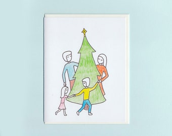Rockin' around the Christmas tree - hand-drawn card by Michelle Lin