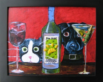 Framed Funny Cat and Dog Art - Tuxedo Cat and Black Dog with Wine and Martini - Canvas Print with 3D Polymer Clay Olives