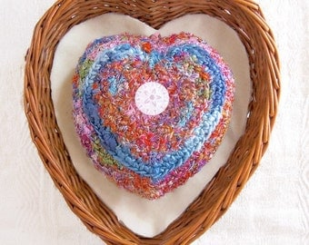 Heart Shaped Plush - Unique Any Day Love Gift for Her - Eco Silk Tapestry Ornament - Embellished with Floral Buttons - Choose a Message