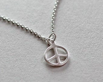 Sterling Silver Peace Sign Necklace Tiny Charm Jewelry Boho Layering Yoga Necklace