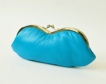 Lambskin Leather Sunglasses Eyeglass Case Deep Sky Blue Made to Order