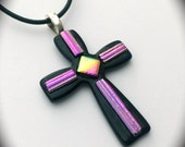 Dichroic Glass Cross Pendant - w/Cord - SUPPORT ANIMAL RESCUE