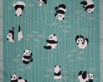Panda Fabric Furoshiki 'Pandas in a Bamboo Forest' Cotton Japanese Fabric  w/Free Insured Shipping