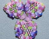 RESERVED for CiCi Lampwork Beads with Lattice and Pink and Purple Watercolor Flowers Pink Blossomse