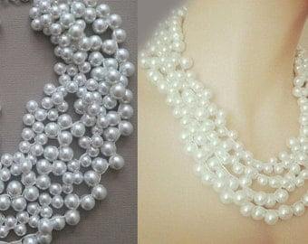 Chunky White Necklace, Bridesmaids Chunky Necklace, Pearl Necklace Jewelry, Wedding Necklace Pearls