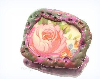 Rose Brooch Broken China Floral Pattern Mixed Media Flower Broach