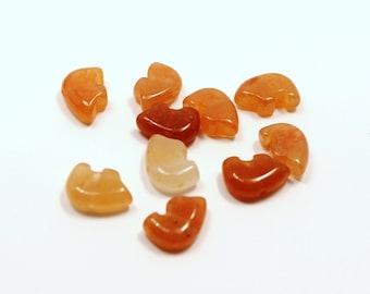 TINY Five Carnelian Zuni Style Bear Fetish Beads Burnt Orange White Brown Pumpkin Tangerine Agate Fire Flame Southwestern Protection Totem