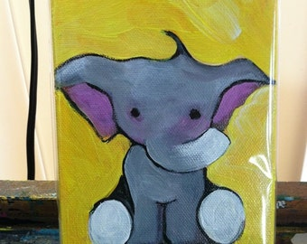 Baby Elephant Art.  A Trumpet. Cute Baby Elephant. Yellow. Trunk Up.  4 X 6 Inch  Handmade Painting on Canvas - Baby Elephant Nursery Art