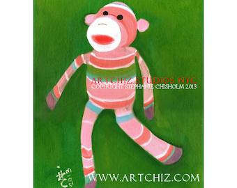 Sock Monkey Art Print. Rainbow. Baby Shower Gift. Children's illustration, kids art print, poster. Childrens Illustration. - Sweet Maurice