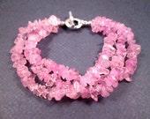 Gemstone Bracelet, Pink Quartz Stone Chips, Three Strand Silver Beaded Bracelet, FREE Shipping U.S.