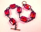 Rhinestone Bracelet, Ruby Red Glass Rhinestones, Brass Beaded Bracelet, FREE Shipping U.S.